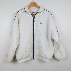 Vintage 90s Nike White Quilted Puffer Coat C3